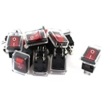 DealMux a15010700ux0190 DPST ON/OFF 4 Pins Waterproof Rocker Switch, 10 Piece, AC 125V/10 Amp 250V/6 Amp