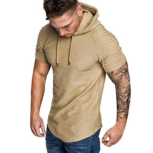 Button-down-raglan-Ärmel (Fcostume Mode Herren Herbst Winter Falten Slim Fit Raglan Kurzarm Hoodie Top Bluse)