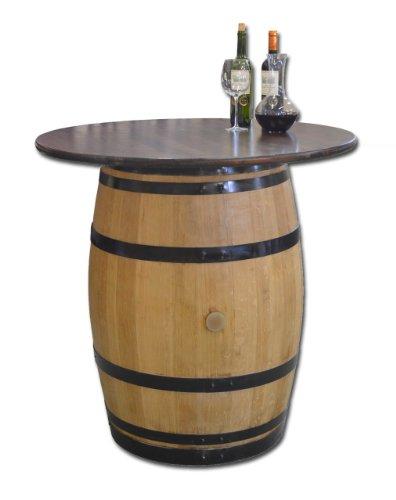 Dekofass, Stehtisch aus echtem Weinfass, Gartentisch mit Tischplatte Nussbaum D100 cm - Fass geschliffen und lackiert