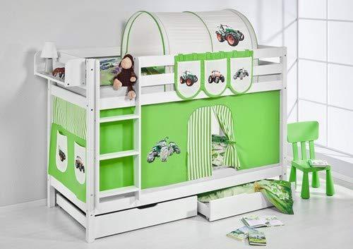 Lilokids Etagenbett Jelle TÜV und GS geprüft Trecker, Hochbett mit Vorhang und Lattenroste Kinderbett, Holz, grün/beige, 208 x 98 x 150 cm