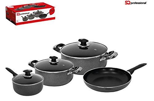 Batterie de cuisine antiadhésive 4 pièces - poêle à frire, casserole et 2 poêles 5055490603960