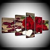 syssyj Kein Rahmen Interesse Rote Rose Blumen Kreative 5 Stücke Leinwand Drucke Malerei HauptwanddekorModerne Raum Kunst Für Wohnzimmer