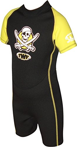 TWF Pirate - Traje para deportes acuáticos, color amarillo, talla 3-4 años