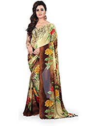 Kashvi Sarees Faux Georgette Printed Brown Color With Blouse Piece ( 1367 )