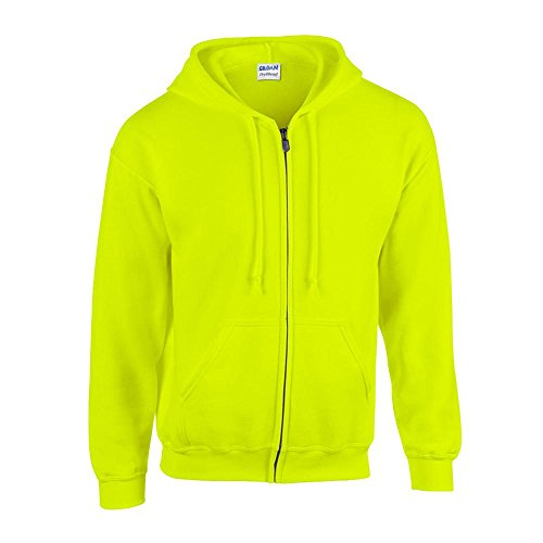 Gildan - Kapuzen-Sweatjacke 'Heavyweight Full Zip' / Safety Green-Yellow, S -