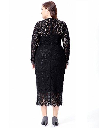 MODETREND Donna Elegante Grande Taglia Vestito Lungo da Matrimonio Pizzo Vestito Fasciante Abito da Sera Banchetto Nero