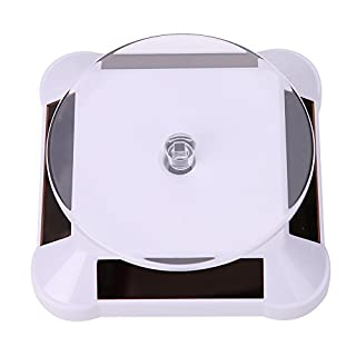 Amazingdeal365 Solar Powered Showcase 360 Turntable Rotating Jewelry Watch Mobile Phones Ring Display Stand (White)
