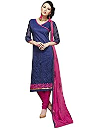 Radhey ArtsNew Designer Navy Blue And Pink Embroidered Cotton Dress Material With Matching Dupatta