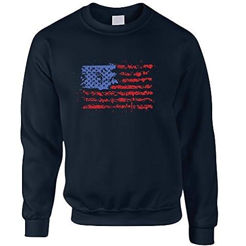 American Flag Paint Splat USA Stars Stripes America Print Design Cool U.S.A And Go Printed Logo Military Patriot Veteran School College Splatter Unisex Sweatshirt Sweater Cool Birthday Gift