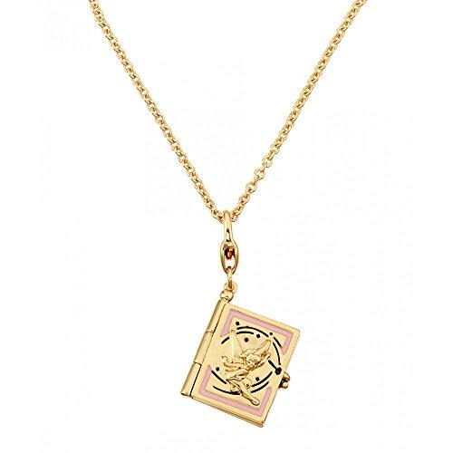 Disney Couture Placcato Oro Peter Pan Tinkerbell Neverland libro ciondolo e collana