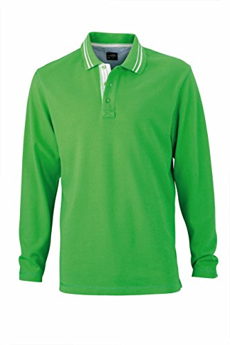 James & Nicholson - Longsleeve Poloshirt green/off-white