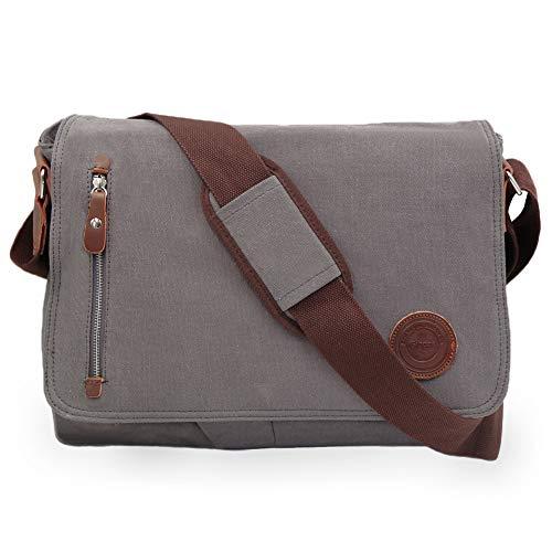 Arbeitstaschen für Herren Umhängetaschen Herren Messenger Bag für A4 Ordner Herren Uni Büro mit Laptopfach (15.6 Zoll - Grau)