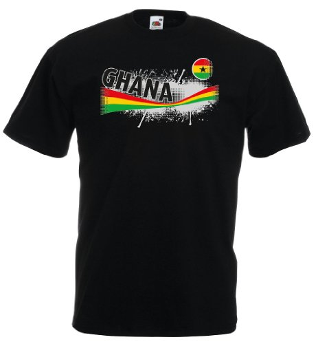 world-of-shirt Herren T-Shirt Ghana Vintage Trikot|schwarz S
