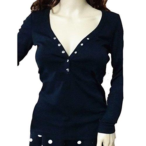 Damen Retro Loose Langarm Hemd Beiläufige Reizvolle Mode Hemden T-Shirt Bolero Tops Lässig Blusen Oberteile Schwarz
