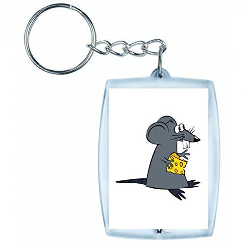 Druckerlebnis24 Schlüsselanhänger Ratte- Maus- KÄSE- Tier- SÄUGETIER- NAGETIER- Cartoon- Comic- GLÜCKLICH- NIEDLICH in Weiss | Keyring - Taschenanhänger - Rucksackanhänger - Schlüsselring