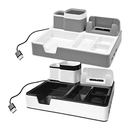 Desk Organizer 3 USB Anschlüsse Smartphonehalterung und Ladefunktion Ablage (Schwarz)