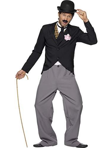 Jacke Gangster Lang Anzug Für Erwachsene Kostüm - Luxuspiraten - Herren Männer 20er Jahre Star Kostüm mit Jacke, Hose, Mock Weste und Schlips, perfekt für Karneval, Fasching und Fastnacht, L, Schwarz