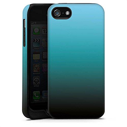 Apple iPhone X Silikon Hülle Case Schutzhülle Blau Schwarz Farbverlauf Tough Case matt