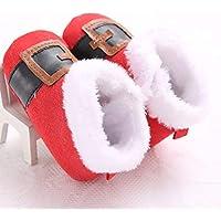 Oyamihin Zapatos para bebés de Navidad Botas Antideslizantes Suela Exterior Botas de algodón Espesar Cálidas Botas de Invierno Zapatos para niños pequeños - Rojo 12cm