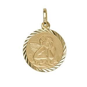 MyGold Schutzengel Anhänger (Ohne Kette) Gelbgold 333/750 Gold (8 Karat / 18 Karat) Ohne Stein Ø 14mm Engel Engelchen Goldengel Taufe Taufgeschenk Kommunion Engelsgold MOD-03622