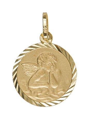MyGold Schutzengel Anhänger (Ohne Kette) Gelbgold 750 Gold (18 Karat) Ohne Stein Ø 14mm Engel Engelchen Goldengel Taufe Taufgeschenk Kommunion Kettenanhänger Engelsgold V0013469