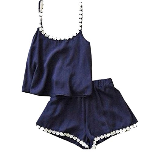 Zeagoo Femme élégante Lady Casual Sexy O- cou sans manches Sangles débardeurs et shorts Set Bleu Marine