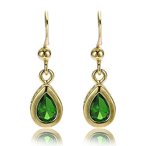 Rizilia Jewellery Pear Cut Green Emerald Color Gemstones Fine CZ 18K Yellow gold Plated Dangle Earrings Simple Modern Elegance [Free Jewelry