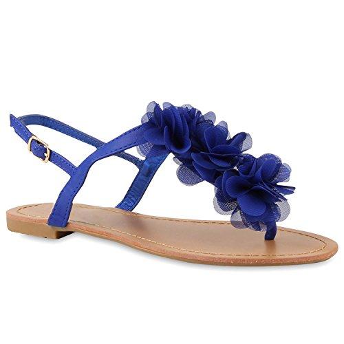 Damen Dianetten Blumen Sandalen Zehentrenner Sommer Flats Beach Zierperlen Schuhe 114997 Blau 37 Flandell -