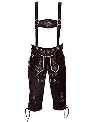SHAMZEE Trachten Lederhose knielang in Braun farbe inklusive Hosenträger oder Gürtel Echt Leder SHAMZEE lederhosen Gr. 46-62