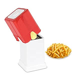 Perfect Life Ideas Plastic Potato Finger Chips Cutter French Fries Cutter (Red/White)