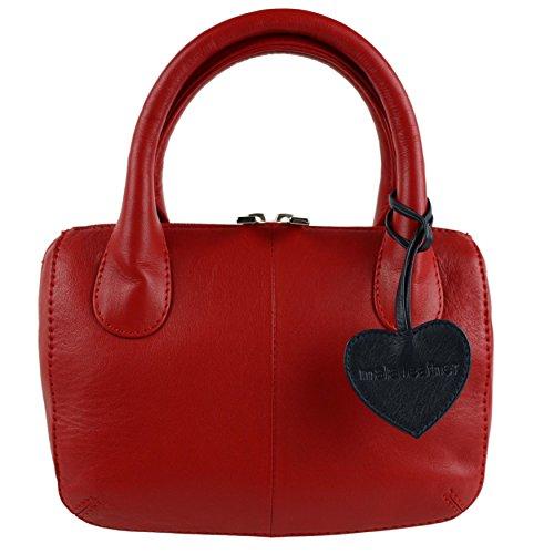 Mala Leather, Borsa a mano donna Rosso nero rosso