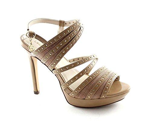 LAURA BIAGIOTTI 920 beige scarpe donna sandali tacco alto plateaux Beige