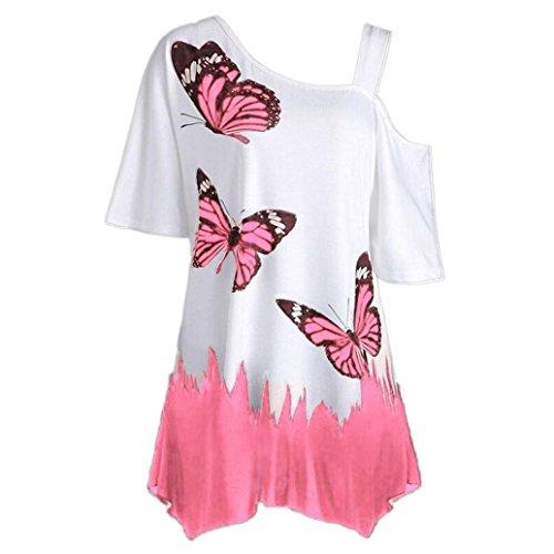 ❤️Tefamore Femmes papillon impression Off épaule chemise à manches courtes Casual Top Blouse (XXL, A-Rose)