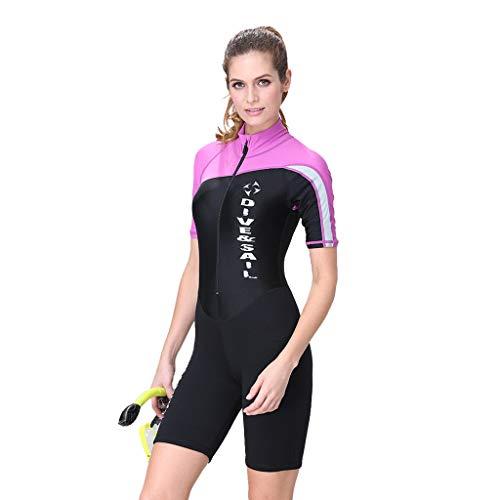 QIMANZI Swimming Wetsuit Damen Neoprenanzug Strecken Taucheranzug Schnorcheln Badeanzug Surfen Overall(A Pink,M)