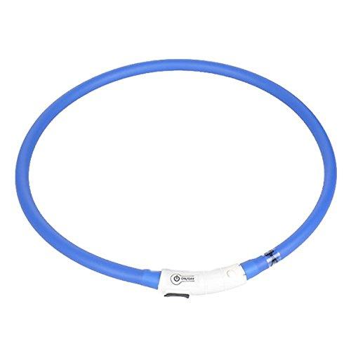 Pixnor LED Sicherheitshalsband Einstellbare USB aufladbarer 4-Modus-LED-Haustier Katze Hund Sicherheitshalsband Leuchthalsband (Blau)