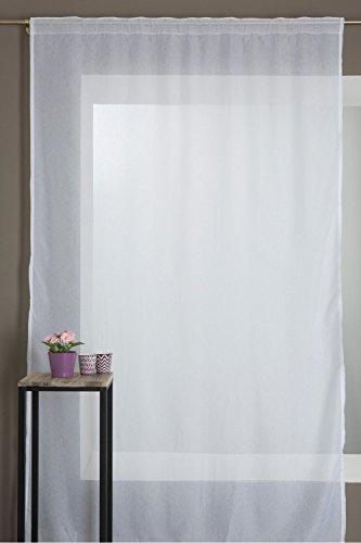 Rideau Voilage à Galon Fronceur Motif Floral Blanc 2947be854d30
