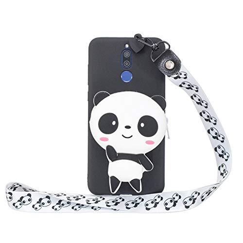 Miagon Silikon Hülle für Huawei Mate 10 Lite,3D Süß Brieftasche Lager Tasche Design mit Halskette Kordel Schnur Handykette Necklace Band,Panda