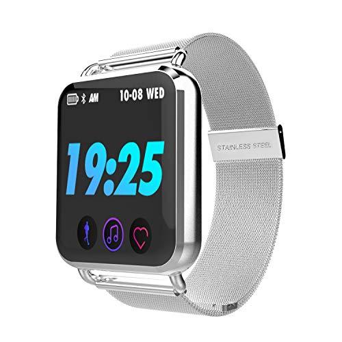 WShijie Smart Armband Farbbildschirm mit Herzfrequenz wasserdicht Schrittzähler Bluetooth Gesundheit Sportuhr Android ios Fitness-Tracker,Silver