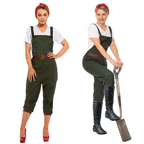1940 Armee Kostüm - sowest WW2 1940s Land Mädchen Frauen Armee Weltkrieg Kostüm Kostüm Größe UK 8 - 22