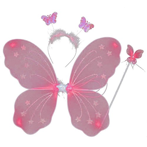 (EFINNY Mädchen schmetterlingsfee Prinzessin Rollenspiel Kostüm-Set von 4 - gillter Flügel Stirnband Zauberstab Tüll Tutu Eine Größe Rosa)