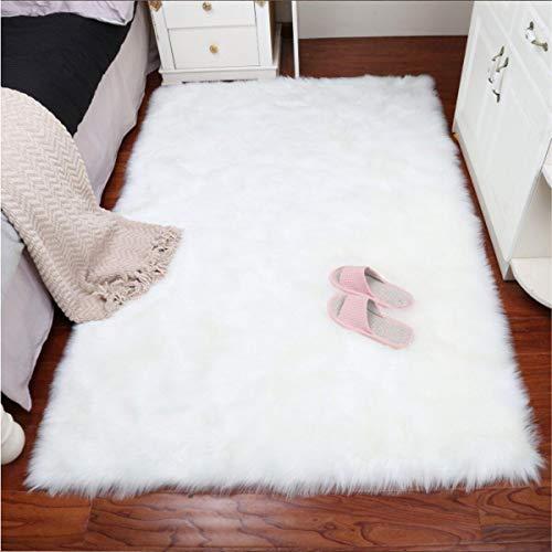 Faux Lammfell Schaffell Teppich 50 x 150 cm Nachahmung Wolle Wohnzimmer Teppiche Lange Fell Flauschig Weiche Schaffell Bettvorleger Matte (Weiß) - Weichen Schaffell