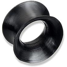 Piercing-Plug de túnel para el lóbulo de la oreja en silicona negro ...