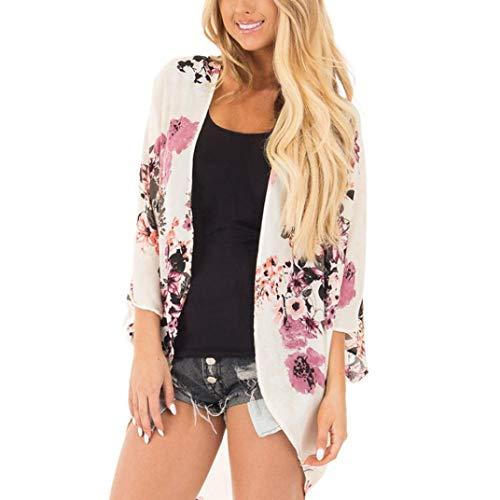 MOSE S.E, Bedruckte Strickjacke für Frauen, Sommer Bluse Floral Print Chiffon Boho Stil Kimono Cardigan Oversized (Weiß, S) -