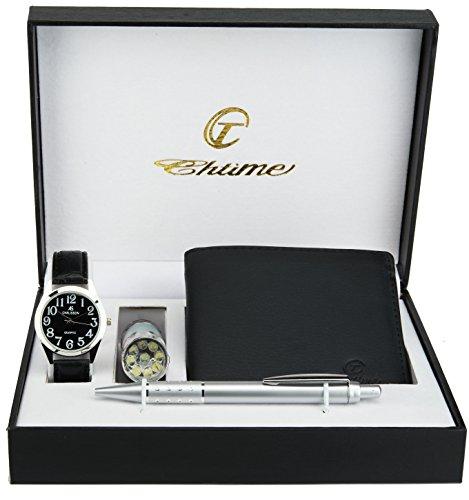 Cofanetto orologio uomo nero - lampada led - portafoglio - penna
