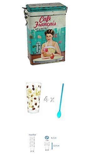 Vorratsdosen Blechdosen Kaffeedose mit nostalgischem Werbemotiv 'Cafe Francais' 1500 ml + 4 Latte...