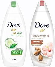 Dove Go Fresh Nourishing Body Wash, 190ml & Dove Almond Cream and Hibiscus Body Wash, 190ml