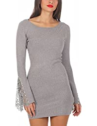 5200 Fashion4Young Damen Feinstrick Pullover Strickkleid Longpullover  Minikleid Trompetenärmel 2d215bd070