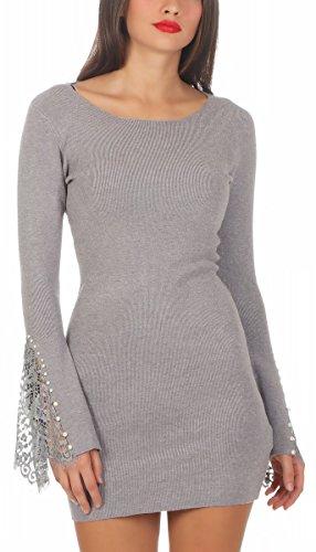 5200 Fashion4Young Damen Feinstrick Pullover Strickkleid Longpullover Minikleid Trompetenärmel (grau, L/XL=38/40)