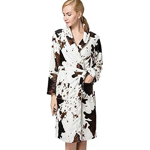 LIUDOULas señoras franela Albornoz Albornoz impresión tie-pijama de paño grueso y suave coralino , 1# ,