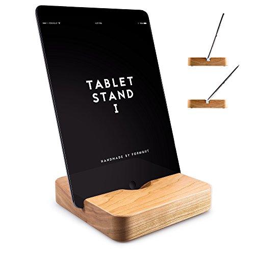 FORMGUT Holz iPad Ständer mit 2 Neigungen Handmade Stand-halterung, Standfuss - Bodenhalter, Massivholz Halterung, Tablet Stand 1 - Kirsche (Kirsche Massivholz Tisch)